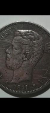Moneda 5 pesetas Amadeo I año 1871 0