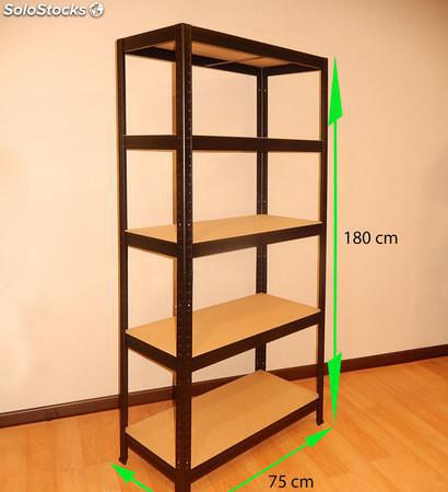 Estantería metálica sin tornillos 180x75x35cm 5 pisos muy 0