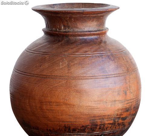 Jarron redondo antiguo autentico artesanal asiático 0