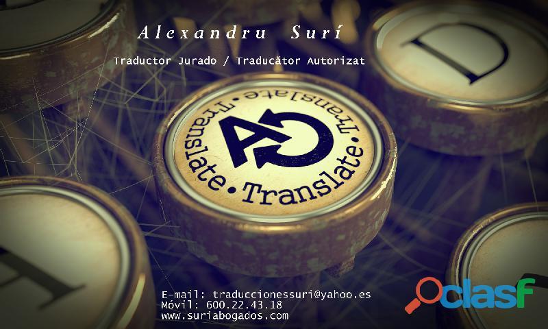 Traductor jurado de rumano/ traducator autorizat