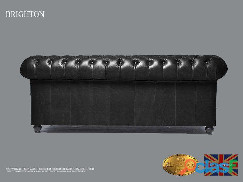Sofá Chester Brighton Classic* Vintage Negro* 3 plazas*Cuero 5