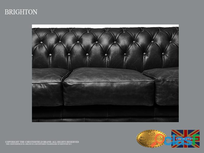 Sofá Chester Brighton Classic* Vintage Negro* 3 plazas*Cuero 4