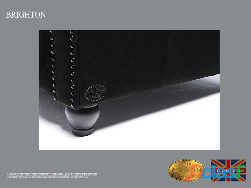 Sofá Chester Brighton Classic* Vintage Negro* 3 plazas*Cuero 2