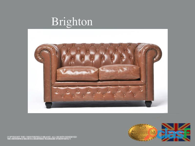 Sofá chester vintage mocca *2 plazas*auténtic chesterfield brand cuero*hecho artesanal