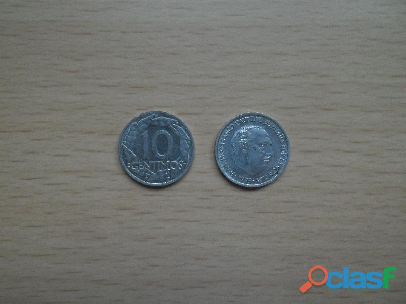 Monedas antiguas 10 centimos 1941,1943,1953,1959