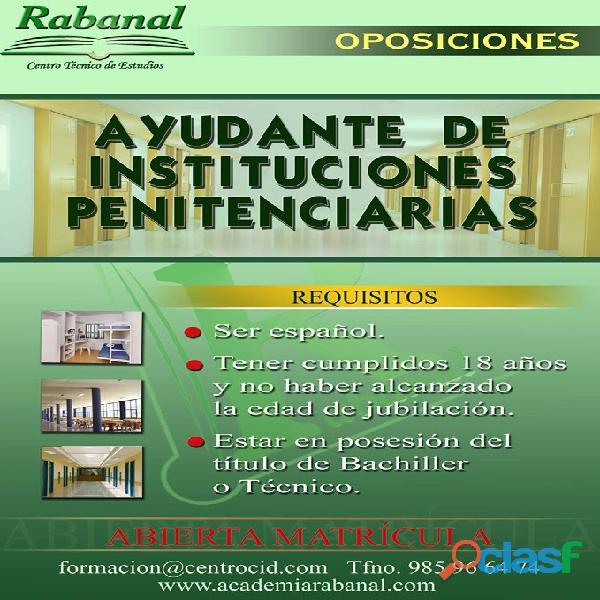 Oposiciones cuerpo de ayudantes de instituciones penitenciarias – academia rabanal.