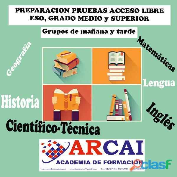 Curso preparación pruebas de acceso libre