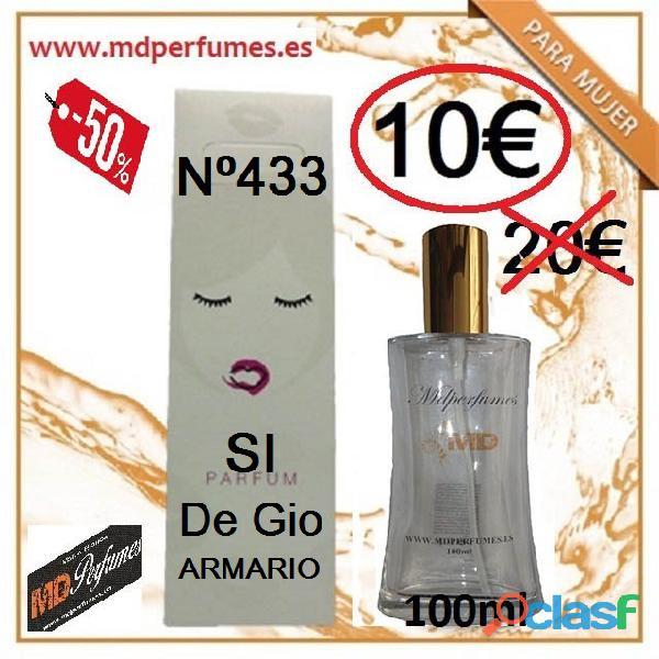 Perfume equivalente mujer al 50% nº433 si de gio armario 100ml 10€ alta gama marca blanca