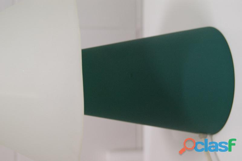 Lámpara sobremesa de cristal blanco y verde