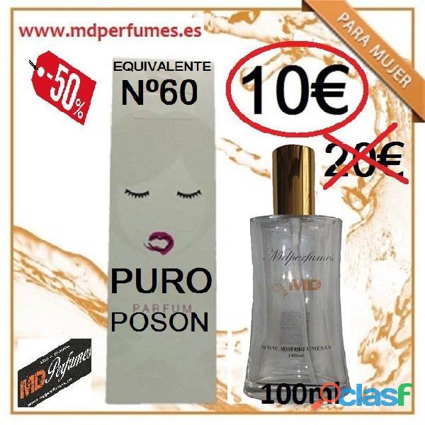 Perfume mujer equivalente n 60 puro poson 100ml alta gama marca blanca