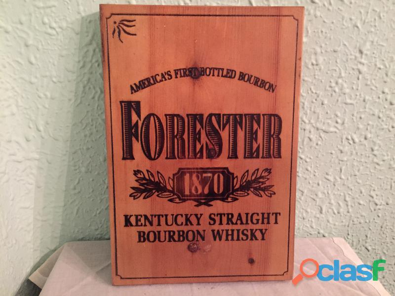 Cartel de madera bourbon   forester