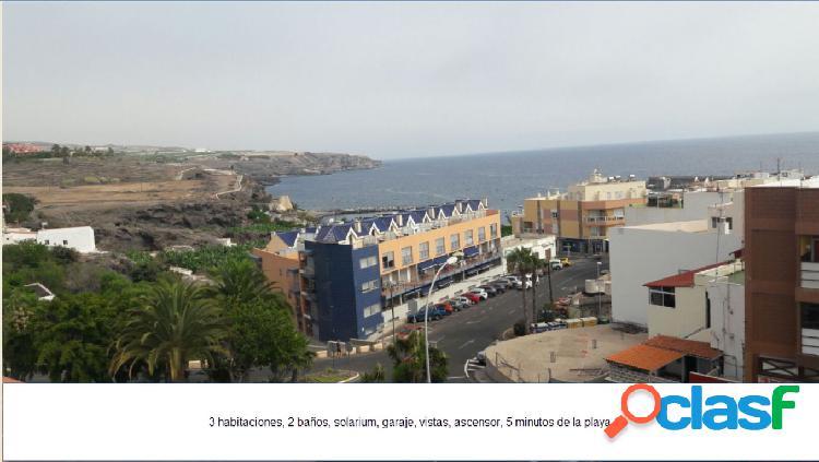 Playa san juan, 3 dormitorios, 2 baños, solaríum, trastero y garaje con vista al mar