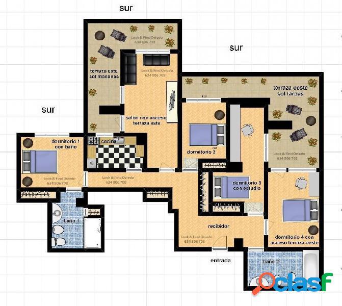 Ático 4 dormitorios y 2 baños con 2 terrazas a este y oeste
