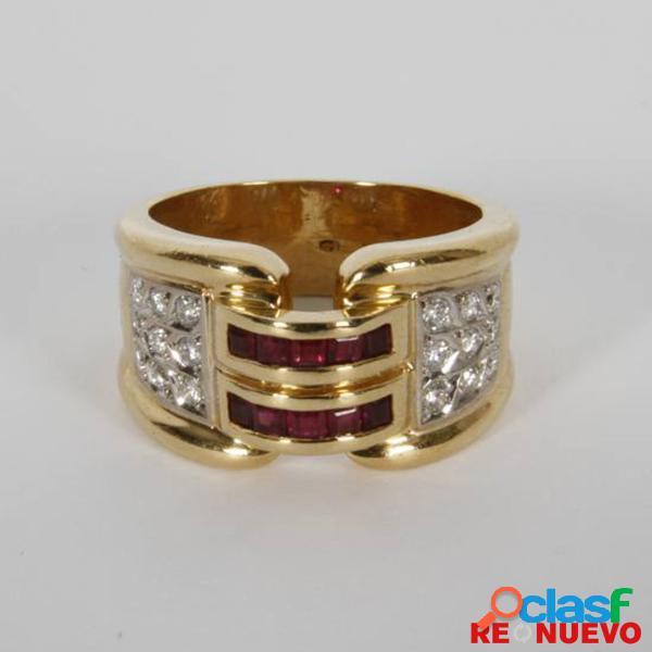 Anillo de oro con diamantes y rubães de segunda mano e298175h