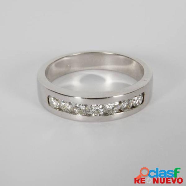 Media alianza de oro blanco con 7 diamantes de segunda mano e299044