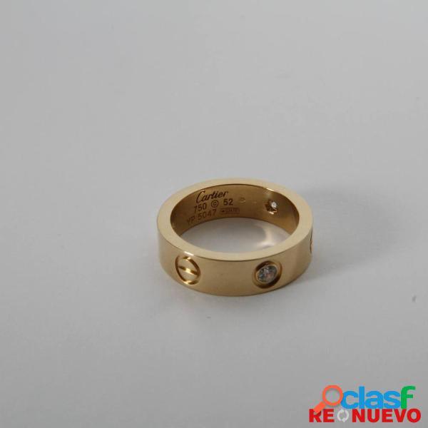 Anillo cartier love 3 diamantes de segunda mano e306021
