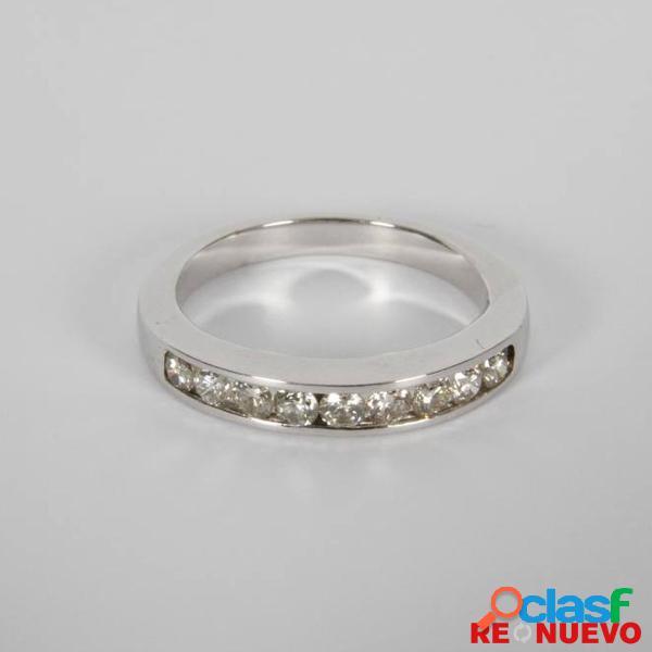 Media alianza en oro blanco con 9 diamantes de segunda mano e281479