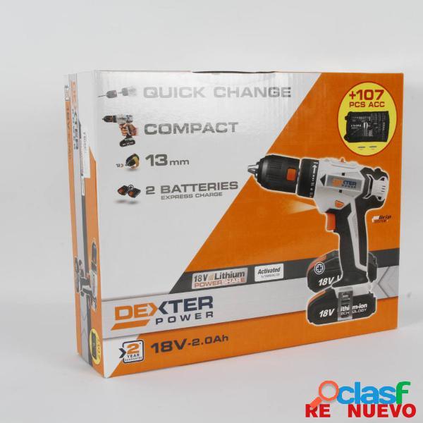Taladro/atornillador dexter 18v-2.0ah nuevo precintado e308611