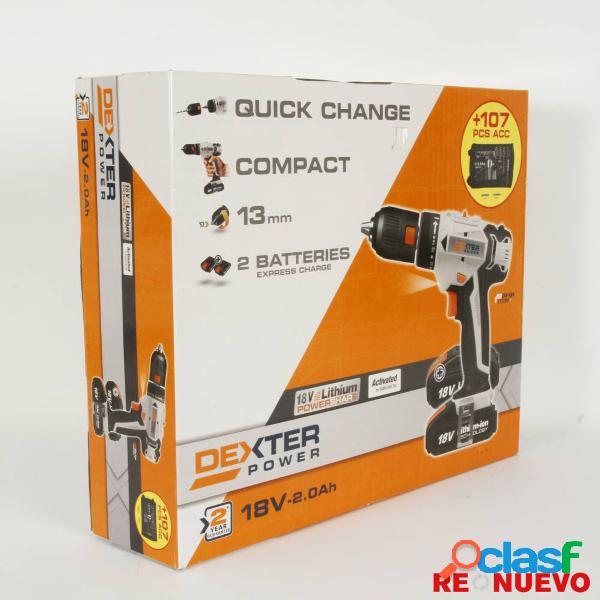 Taladro/atornillador dexter 18v-2.0ah nuevo precintado e308770