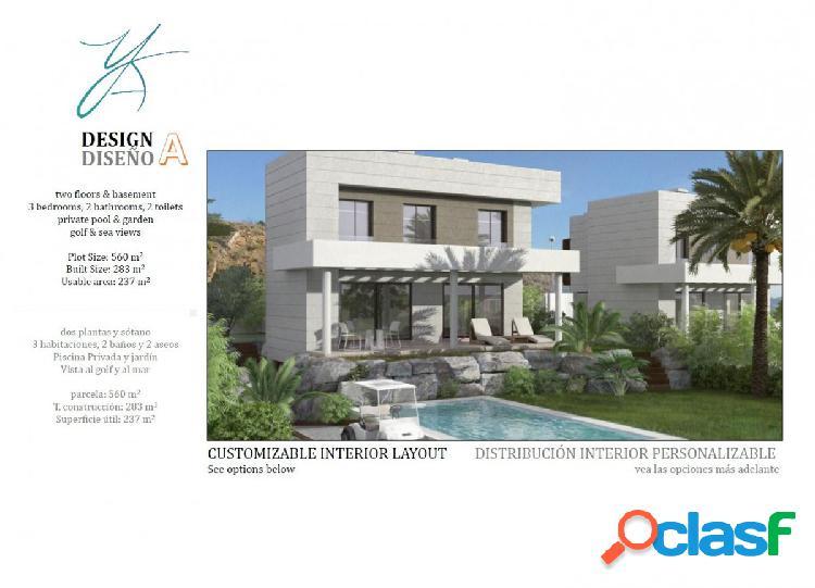 10 villas modernas, con tres diseños diferentes: a, b y c.