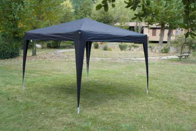 Carpa plegable acero color negro 3x3 mts