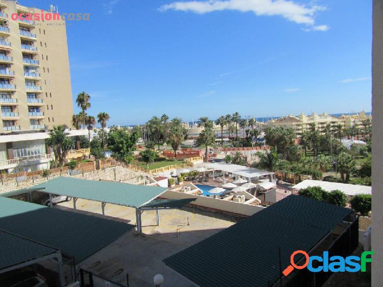 Estudio primera linea de playa, zona puerto marina vista al mar con terraza!!