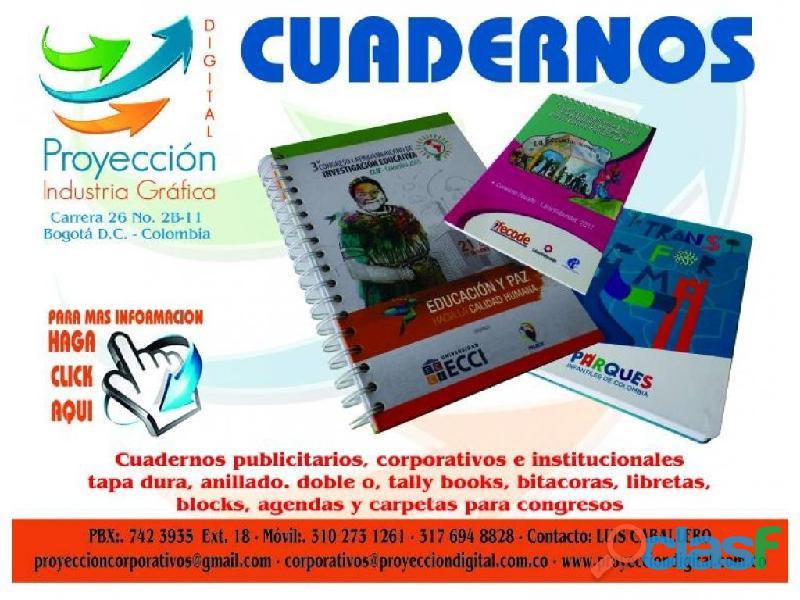CUADERNOS PUBLICITARIOS Y CORPORATIVOS TAPA DURA ARGOLLADO DOBLE OO