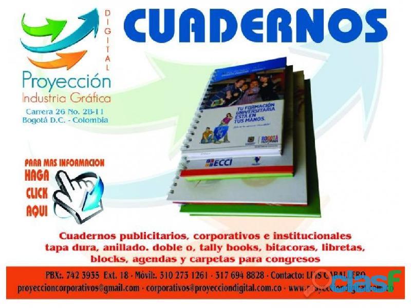 CUADERNOS PUBLICITARIOS Y CORPORATIVOS TAPA DURA ARGOLLADO DOBLE OO 2