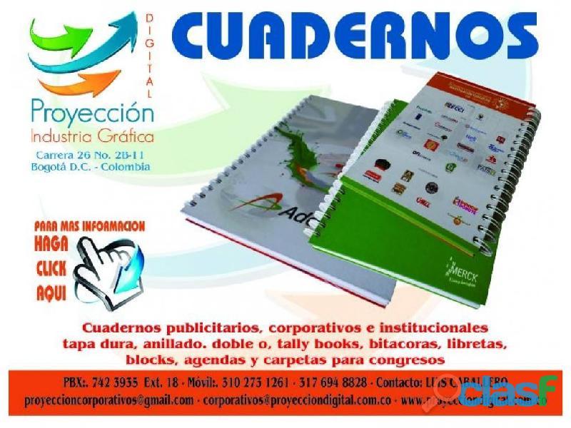 CUADERNOS PUBLICITARIOS Y CORPORATIVOS TAPA DURA ARGOLLADO DOBLE OO 1