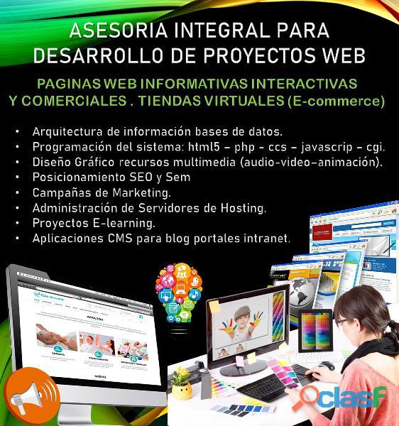 Asesoria para desarrollo de proyectos web paginas web informativas interactivas comerciales