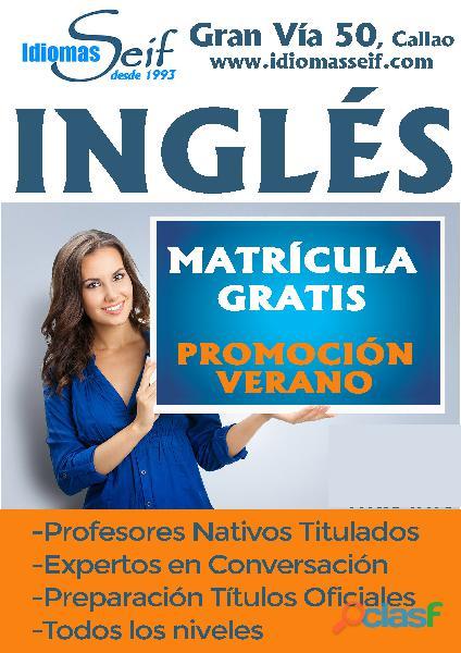 Clases de inglés. matrícula gratis. agosto