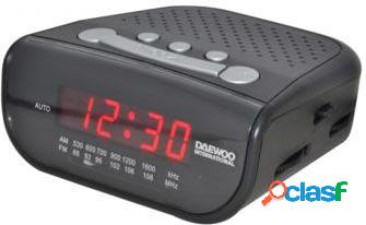 Radio despertador daewoo dcr-26 fm / am led rojo pila de seguridad no