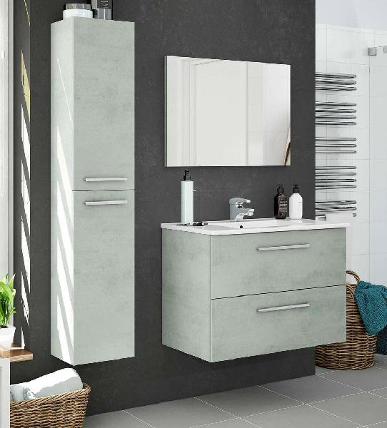 Pack completo mueble baño color cemento