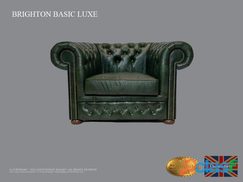 Sillón Chester Bassic Lux ,Cloudy Green, Cuero ,Auténtic Chesterfield Brand