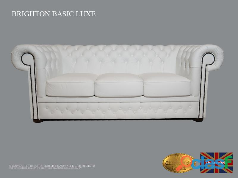 Sofá chester bassic lux , 3 plazas,blanco ,auténtic chesterfield brand