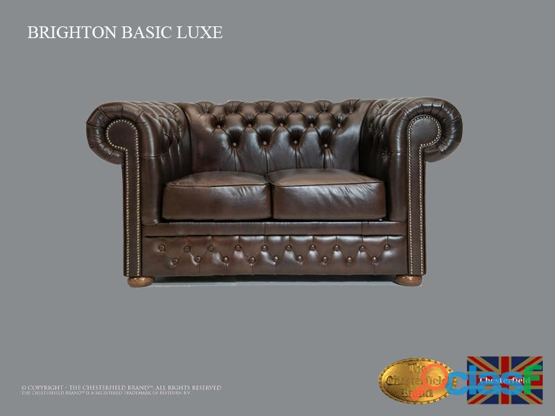 Sofá chester bassic lux ,cloudy dark brown ,2 plazas ,cuero , chesterfield brand