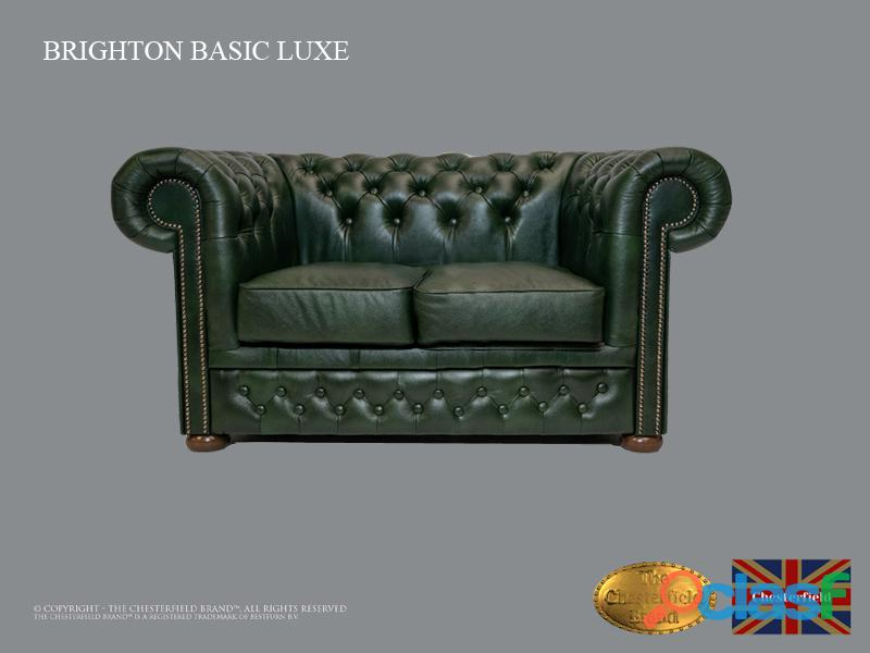 Sofá chester bassic lux ,cloudy green, 2 plazas ,cuero, chesterfield brand
