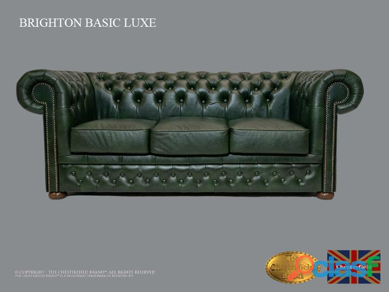 Sofá chester bassic lux,3 plazas,verde , auténtic chesterfield brand