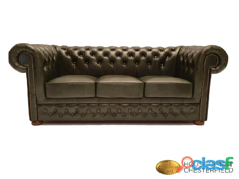 Sofá chester cloudy green 3 plazas auténtic chesterfield brand