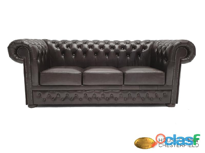 Sofá chester shiny black 3 plazas auténtic chesterfield brand