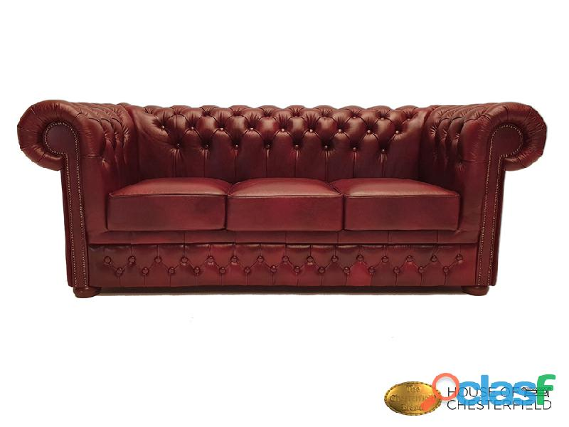 Sofá Chester  3 plazas  Cloudy Red  Auténtic Chesterfield Brand