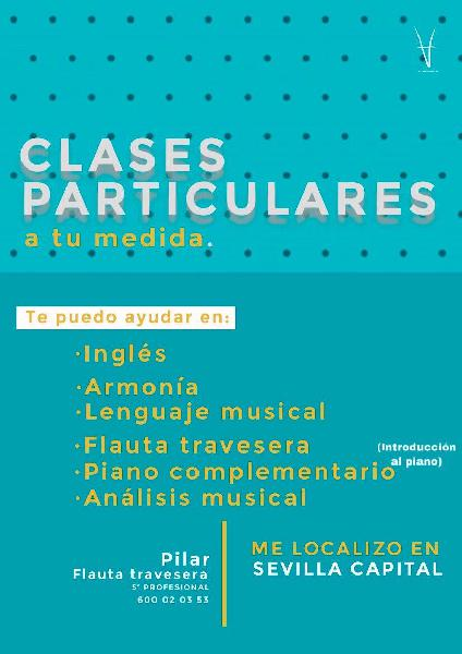 Clases particulares flauta travesera, piano,inglés