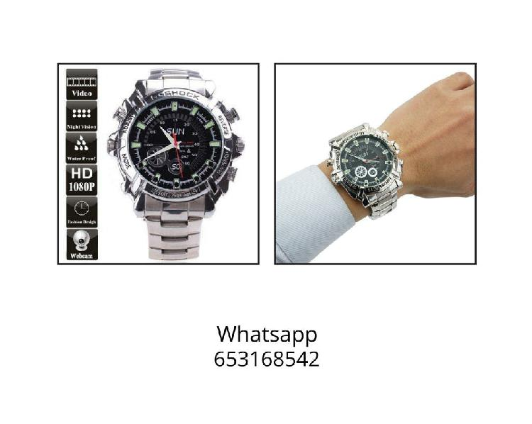 Reloj pulsera acero espia camara