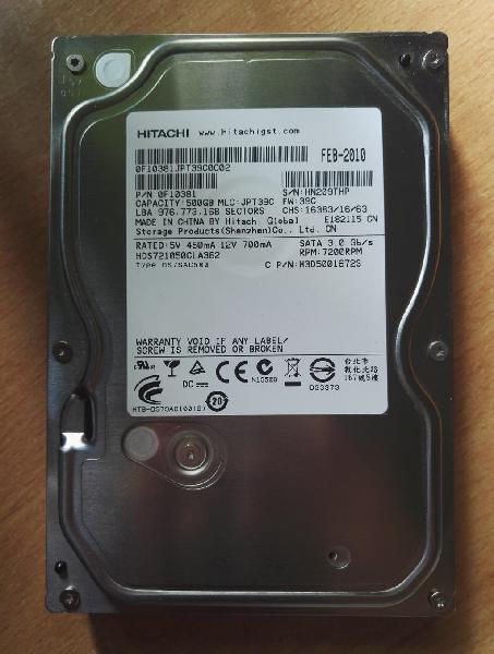 Hitachi 3.5 500gb 7200rpm (estado: nuevo)