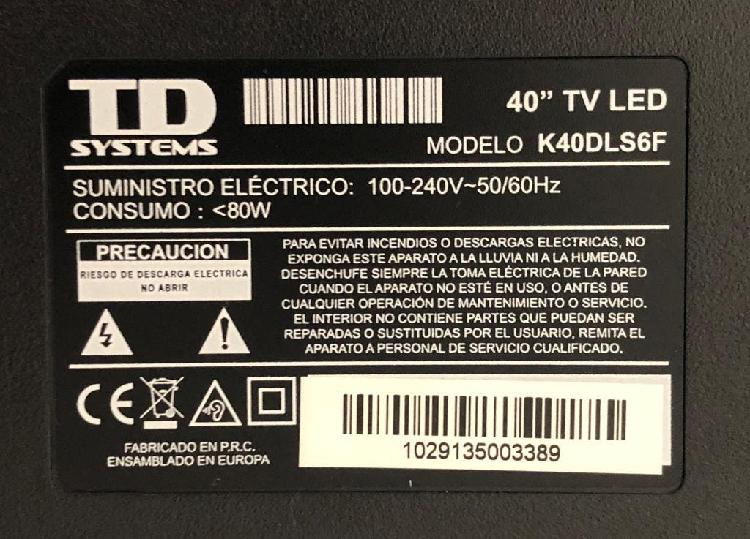"""Vendo television 40"""" tv led td systems"""