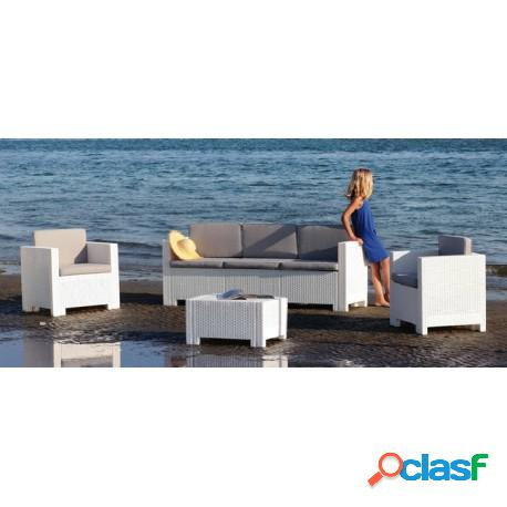 Conjunto acacia de poliratán 2 sillones, 1 sofá y 1 mesa, poliratán chocolate, blanco o antracita casa de hoy