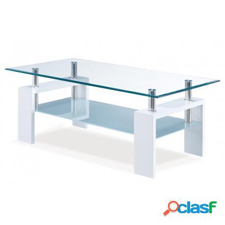 Mesa de centro lacado blanco alto brillo y cristal 110 x 60 cms casa de hoy