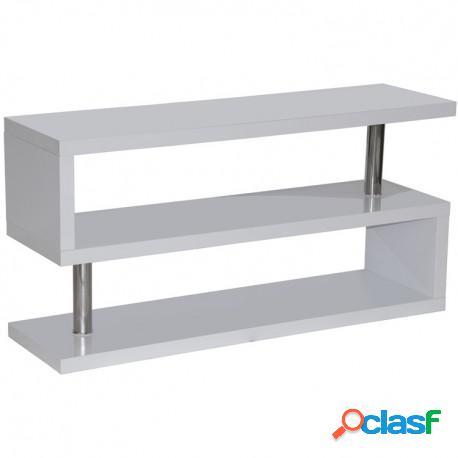 Mueble tv - estantería lacado blanco y acero casa de hoy
