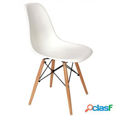 Silla tower-w fabricada en abs color blanco y patas de madera