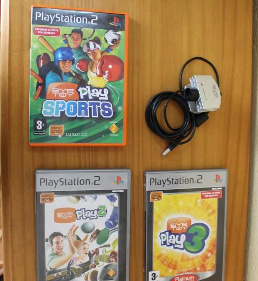 Camara eye toy + 3 juegos ps2: eyetoy play 2, play 3 y play